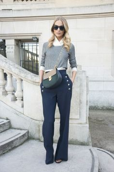 What to wear to brunch this weekend: Ooze French elegance with flared trousers and a checked sweater.