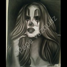 Pepe Vazquez Airbrush Payasa/ Clown Girl follow him on IG @pepevazqueztattoo and on Etsy PepeArtwork I love his art so much ♡♡♡