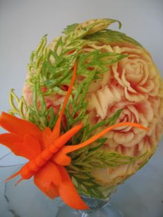 ❀⊱╮Carved Watermelons, Pumpkins and other food art.  / fruit carving