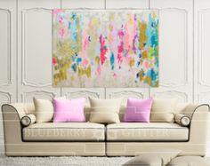 VERKOCHT Abstract Art grote Canvas schilderij wit lila