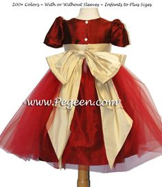 Claret Red and Pure Gold Silk with 10 Layers of Matching Tulle Flower Girl Dresses by Pegeen.com Headquartered near Disney World, Selling Online, Shipping World-Wide. American-Made since 1982.
