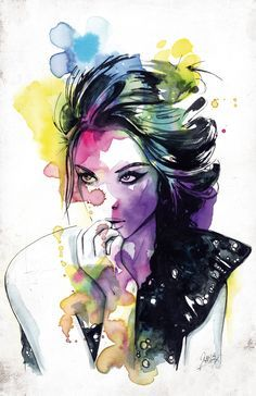 portrait female colorful loose