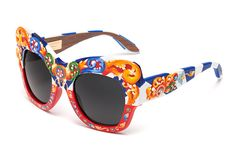 Limited edition sunglasses for women Carretto Collection Dolce & Gabbana with grey lenses made of Canaletto walnut wool and hand-painted frame.