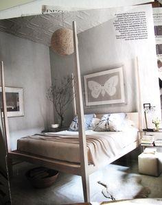 Neutral Love:  cotton light fixture + print (Joseph Scheer); bed (Canvas); bedside tables (Ochre); gouache on far wall (Bo Bartlett); dhurrie (Odegard)