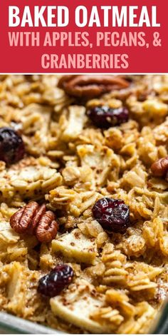 Baked Oatmeal made with apples, pecans, and cranberries is a delicious and comforting breakfast casserole! Baked Oatmeal made with apples, pecans, and cranberries is a delicious and comforting breakfast casserole! Brunch Recipes, Gourmet Recipes, Cooking Recipes, Amish Recipes, Cooking Ribs, Cooking Food, Baked Apple Oatmeal, Baked Oatmeal Recipes, Healthy Recipes