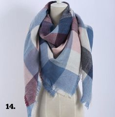 #14 Over Sizes Light Blue, Plum & Dusty Rose Cashmere Scarf - USA ONLY