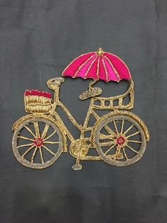 Ari.... Bicycle... Embroidery On Kurtis, Embroidery Motifs, Embroidery Suits, Hand Embroidery Designs, Beaded Embroidery, Noctis, Art Textile, Lesage, Gold Work