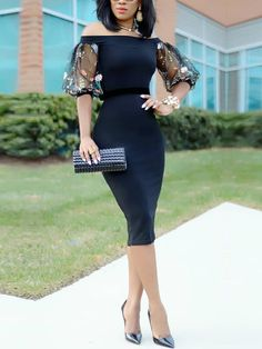 Sexy Bardot Embroidered Puff Sleeve Midi Dress