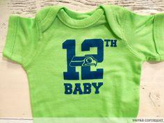 Seahawks onesie. 12th man onesies. 12th baby Seahawks onesie.Hand drawn baby hawk! Hawks baby. Seattle Seahawks baby.
