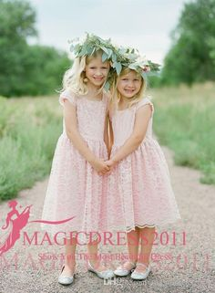 2017 Lovely Princess Pink A-Line Flower Girls' Dresses Lace Short Sleeve Jewel Neckline Ruffled Tea-Length Wedding Kids Communion Dress Flowers Girl Pageant One Shoulder Online with $80.0/Piece on Magicdress2011's Store | DHgate.com