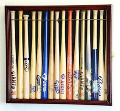 "Small Mini Baseball Bat 18"" Shadow Box Display Case Holds 16 * Led Lights"