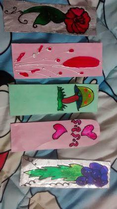 Handmade Paper + glass painting bookmarks