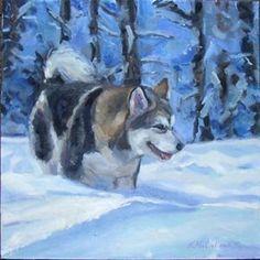 malamute husky painting