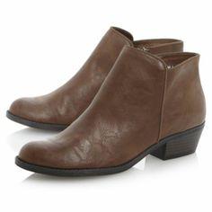 head over heels ladies tan low heel round toe ankle boot, dune shoes online