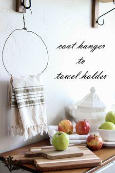 DIY Vintage Coat Hanger to Farmhouse Towel Holder !
