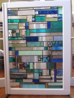 Stained Glass Art Hanging... Fireplace Mantle Art... Window table. via Etsy.