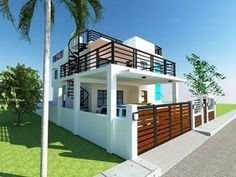 Modern 2 Storey w/ Roofdeck - House Designer and Builder 2 Storey House Design, Construction Contract, Simple House Design, Roof Deck, Home Design Plans, House Front, Model Homes, Rooftop, Exterior Design