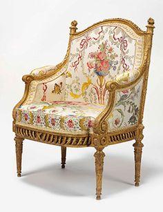 A royal Louis XVI giltwood fauteuil en bergère which was made for Marie Antoinette by François II Foliot. Estimate: £300,000-500,000.