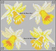 xx daffodils – Famous Last Words Beaded Cross Stitch, Cross Stitch Flowers, Cross Stitch Patterns, Pearler Beads, Fuse Beads, Hama Beads Patterns, Beading Patterns, Pixel Art, Felt Witch Hat