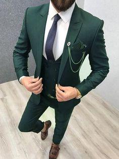 Men Suits Formal Fashion Green Tuxedo Suits 3 Piece Suits Slim fit One Button Suits Groom Wear Prom Suits For Men, Dress Suits For Men, Men's Suits, Mens 3 Piece Suits, Grey Suits, Suit For Man, Tuxedo Suit, Tuxedo For Men, Outfit Hombre Formal