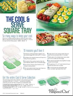 Cool & Serve Square Tray This product is fantastic! Food stays cold 4-6 hours, perfect for picnics and potlucks! Get it Free when you host a cooking or facebook show before August 15th! http://new.pamperedchef.com/pws/cristin/shop/Outdoor/Cool+%26+Serve+Square+Tray/2292