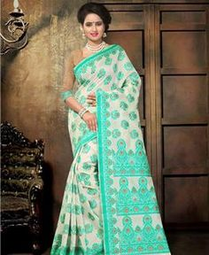 Picture of Delightful Off White And Green Designer Saree