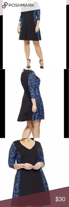 NWT ROYAL BLUE & BLACK MIDI FLORAL A LINE DRESS 2X NWT SIZE 2X (18-20) MADE OUT OF POLYESTER AND SPANDEX - STRETCHES -  it's so beautiful I wish it wouldn't of fit me do Big I WEAR 1X it a true 2X - ROYAL BLUE & BLACK I'm 5'3 and it fits me real midi lsabel and Alice By Gwynnie Dresses Midi