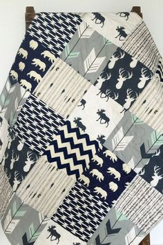Baby Quilt Boy Moose Bow and Arrow Stag WoodlandBirch Forest Deer Navy Mint Gray ModernCrib Bedding Baby Bedding Children USD) by CoolSpool Baby Boys, Baby Boy Rooms, Baby Boy Nurseries, Nursery Boy, Babies Nursery, Carters Baby, Nursery Themes, Nursery Ideas, Blue Crib