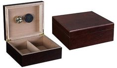 """NEW CHARDONNAY 25-50 COUNT CIGAR HUMIDOR BOX WITH HUMIDIFIER & HYGROMETER! THE CHARDONNAY- 25-50 CIGAR HUMIDOR. Capacity 25-50 cigars, Authentic Dark Walnut Finish, Internal Locking Hinges, Cedar Lined, Adjustable Divider, Humidifier & Hygrometer, 10 1/2"""" W x 8 3/4"""" D x 4 1/4"""" H. Different type of color available here. People Feedback is Greatly Appreciated!! #cigar  #cigarbox  Visit our website…"""