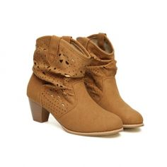 $22.35 Sweet Casual Chunky Heel Women's Short Boots With Openwork and Engraving Design