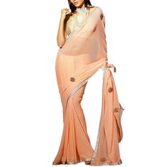 Embroidery Work  Peach Woven nikon Zari Georgette Saree www.091.co  #zari #georgette #saree #sari #ohnineone