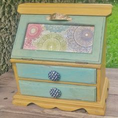 Wooden Jewelry Armoire, Upcycled Jewelry Box, Yellow and Turquoise Jewelry Chest by ModBugDeco on Etsy https://www.etsy.com/listing/511397598/wooden-jewelry-armoire-upcycled-jewelry