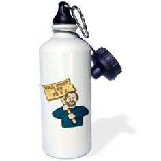 3dRose Funny Humorous Man Guy With A Sign Will Work For Pb And J Peanut Butter And Jelly, Sports Water Bottle, 21oz