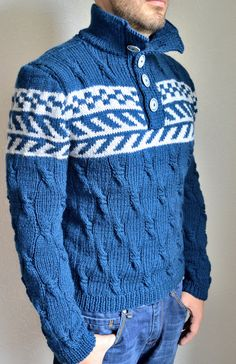 Hand knitted men's sweater by VidaKnitworks on Etsy