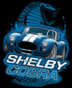 Shelby Blue Cobra T-Shirt SKU: 48640 Beautiful Shelby Cobra car with snake logo in background on a black 100% cotton 6.1 oz t-shirt. Machine washable. Created by David Carey, Inc. Licensed by Carroll Shelby.