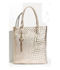 Versace 'Vanitas' Embroidered Metallic Tote available at Nordstrom Beautiful Handbags, Beautiful Bags, How To Have Style, Versace Bag, Versace Gold, My Bags, Evening Bags, Handbag Accessories, Women's Handbags