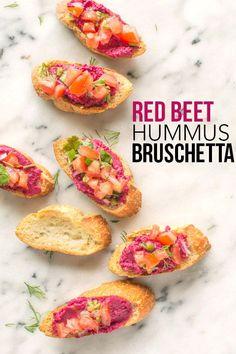 The perfect appetizer - Red Beet Hummus Bruschetta.