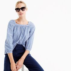 "Meet Penny, our newest square-neck peasant top that's a year-round must. We made this one in a gingham-printed cotton fabric that's easy to dress up or down. <ul><li>Body length: 24 1/2"".</li><li>Cotton.</li><li>Machine wash.</li><li>Import.</li></ul>"