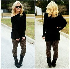 Black sweater and leopard print leggings so chick