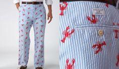 lobster critter seersucker men's pants #JoesCrabShack #Lobster #LobsterFashion