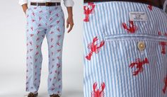 Vineyard Vines lobster critter seersucker men's pants