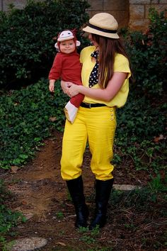 DIY Curious George and the Man with the Yellow Hat Halloween Couple Costume Idea 7 Cute Costumes, Family Halloween Costumes, Baby Costumes, Costume Ideas, Baby First Halloween, Halloween Kids, Halloween Party, Halloween 2018, Halloween Stuff