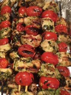 Ingredients:  1 cup fresh basil leaves, chopped 1 clove garlic 1/4 cup grated Parmesan cheese sea salt and fresh pepper to taste 3 tbsp olive oil 1-1/4 lbs skinless chicken breast, cut into 1-inch cubes 24 cherry tomatoes 16 wooden skewers