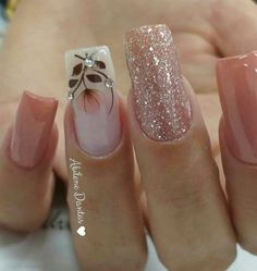 19 fabulous pink nail art designs ideas that looks cool 2 Square Nail Designs, Cute Nail Designs, Cute Nails, Pretty Nails, Hair And Nails, My Nails, Pink Nail Art, Bling Nails, Stylish Nails