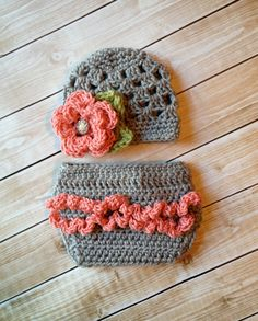 The Sofia Flower Beanie in Coral Gray and by mamamegsyarnshoppe, $28.00