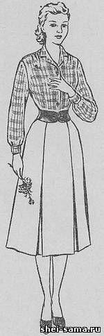 Юбка с блузой комбинированного покроя с переходным плечом - Сто фасонов женского платья  - Всё о шитье