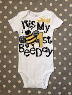It's My First BeeDay Bumble Bee Birthday Onesie by Polkadotologie, $20.00 @Brianne Morse