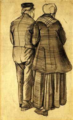 Vincent van Gogh, Man and Woman as Seen from Behind, 1882.