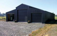 American Barn Style Sheds - Phone 7 Days: Sheds Nz, Barns Sheds, Metal Garage Buildings, Shop Buildings, Metal Houses, Black Shed, Black Barn, Steel Sheds, Steel Barns