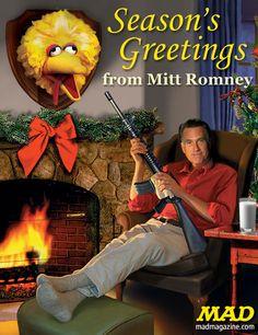 Mitt Romney Puts Big Bird's Head on the Wall  -  mad Magazine